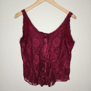 Seven7 burgundy lacy lace up tank